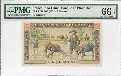 French Indo-China, Banque de L'Indochine - 5 Piastres, nd (1951). PMG 66EPQ.