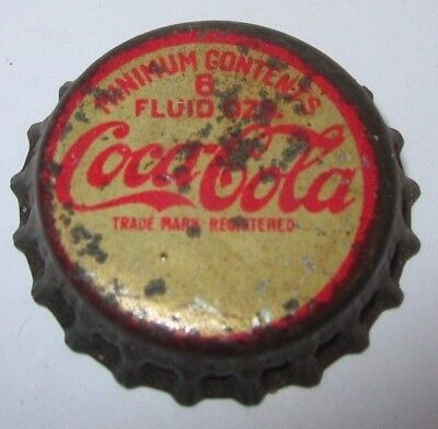 Early Coca-Cola Soda Bottle Cap; Solid Cork; Trade Mark Registered; Used