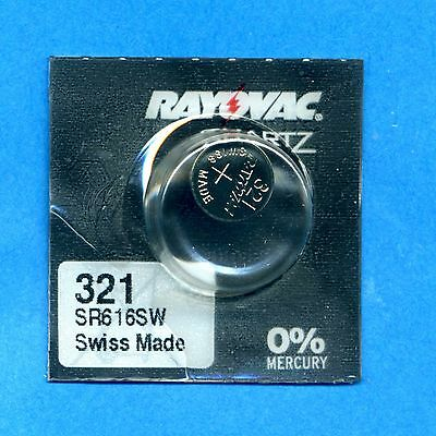 1 x 321 SR616SW V321 D321 SR65 1.55V Silver Oxide Watch Cell Battery Rayovac