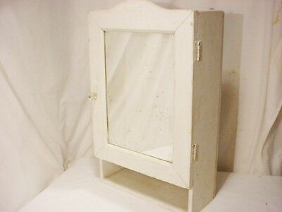 Antique Wood Surface Wall Mount Medicine Cabinet Mirror Vtg  22x14x6 Glass Knob