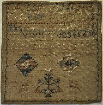 Small Early/mid 19Th Century Alphabet & Motif Sampler By Jane Hill Aged 10 1844
