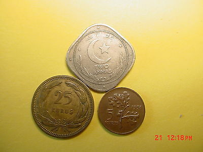 Turkey&Pakistan coins of....3 Coin Lot*