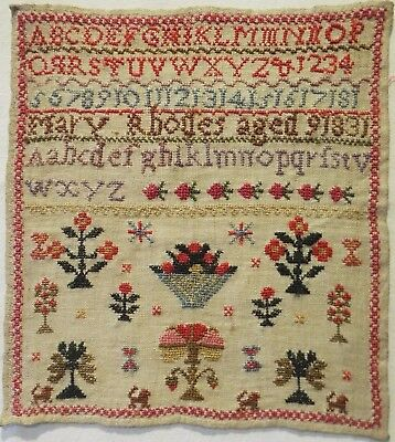 Small Early 19Th Century Motif & Alphabet Sampler By Mary Rhodes Aged 9 - 1831