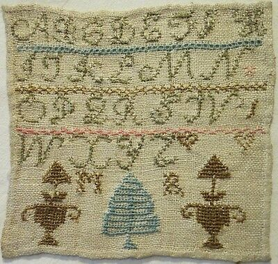 VERY SMALL EARLY 19TH CENTURY ALPHABET & MOTIF SAMPLER INITIALLED MR - c.1835