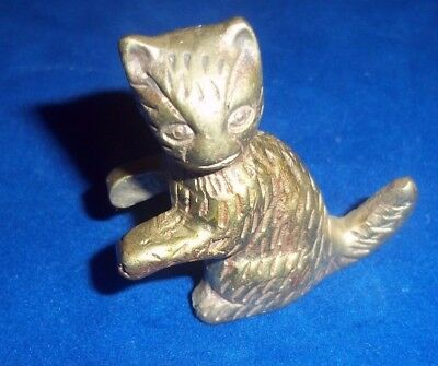 "Detailed Brass CAT 1 3/4"" Wide X 1 7/8"" Tall"