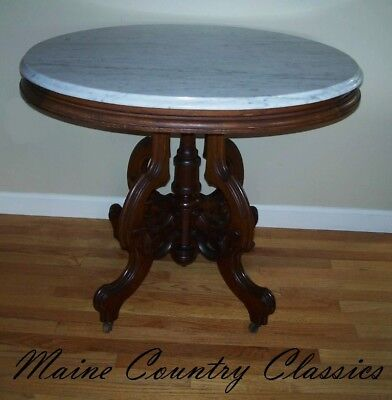 Antique Victorian Oval Marble Top Walnut Parlor Table Stand on Brass Casters
