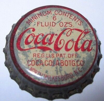 COCA-COLA NORTH WILKESBORO, NC SODA POP BOTTLE CAP; 1930's or 40's; USED CORK