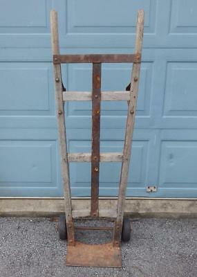 Antique Wood & Cast Iron Industrial Factory Farm Hand Truck Dolly Cart Vintage