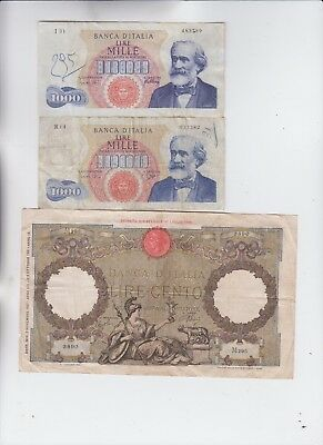 Italy paper money three old notes low grade and up