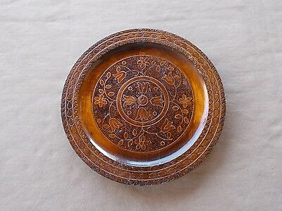 Beautiful vintage hand carved and decorated Polish wooden artisan plate 11 1/2""