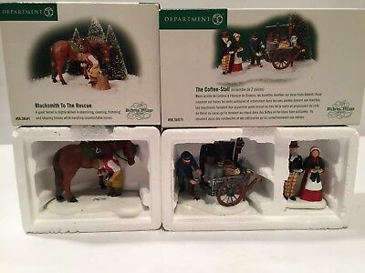 Dept 56 Dickens Village Blacksmith To The Rescue & The Coffee Stall