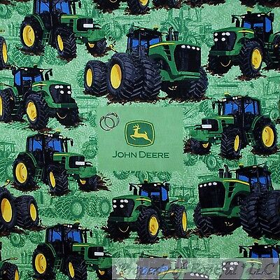 Boneful Fabric Fq Cotton Quilt Green Black John Deere Tractor Logo Farm Scenic L