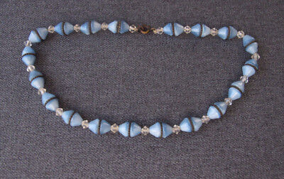 Antique Czech art deco moonglow sky blue & clear glass metal necklace signed