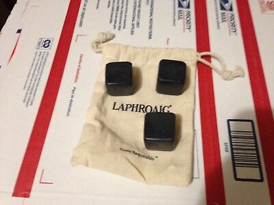 Whisky Rocks w/ Bag Laphroaig Scotch Whiskey branded Stones Promo Gift Man cave