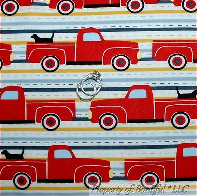 BonEful Fabric FQ Cotton Quilt Red TRUCK Truck Labrador Lab Retriever Dog Stripe