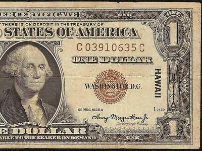 1935A $1 Dollar Bill Wwii Ww2 Hawaii Silver Certificate Brown Seal Note Money