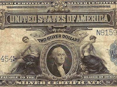 Large 1899 $2 Two Dollar Bill Silver Certificate Currency Note Big Paper Money