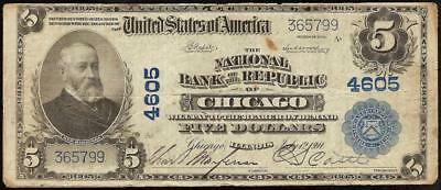 Large 1902 $5 Dollar Bill Chicago Illinois National Bank Note Currency Ch 4605