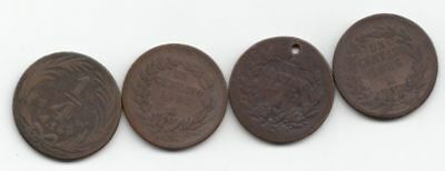 1835 Mexico 1/4 Real plus 3 other early Mexico Coppers...99 cents opening...NR!