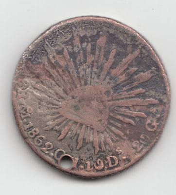 Lovely Patina 1862 Mexico City 8 Reales (holed)...99 cents opening...NR!