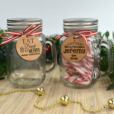 Christmas 400ml Mason Jar with Engraved Wooden Gift Tag
