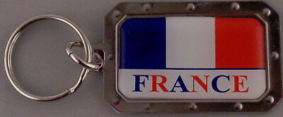 FRANCE French Flag Metal Key Ring DOMED IMAGE made in USA
