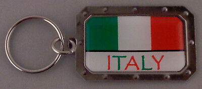 ITALY Italian Flag Metal Key Ring DOMED IMAGE made in USA