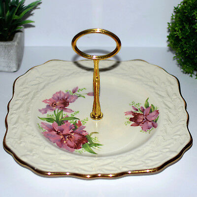 * Vintage Staffordshire Old English Oak Orchid Handled Cake Serving Plate 22cm