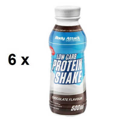 Body Attack Low Carb Protein 5,97€/L Shake 6 x 500ml  Eiweiß Fertigdrink