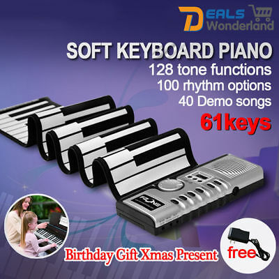 61 Keys Flexible Roll Up Portable Digital Electronic Soft MIDI Keyboard Piano AU