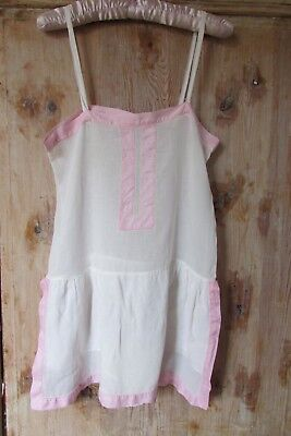 FLOUNCY ANTIQUE FRENCH SHEER LAWN COTTON ALL IN ONE ONSIE LINGERIE 1920s FLAPPER