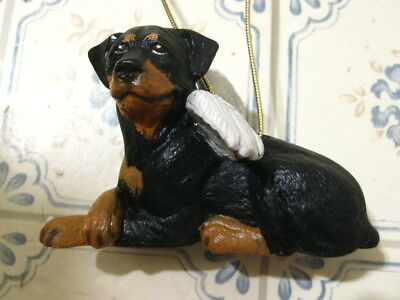 "Rottweiler Ceramic Christmas ORNAMENT~Angel Wings~A BEAUTIFUL DOG~4.5"" X 3""~EUC!"