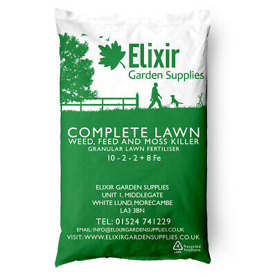 Elixir Gardens | COMPLETE LAWN | 4 in 1 Weed and Feed | 10- 2- 2 + 8 Fe | 20kg