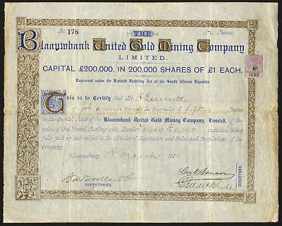 S AFRICA, Blaauwbank United Gold Mining Co. Ltd., £1 shares, 1888