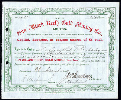 South Africa; Sun (Black Reef) Gold Mining Co. Ltd., £1 shares, 1889
