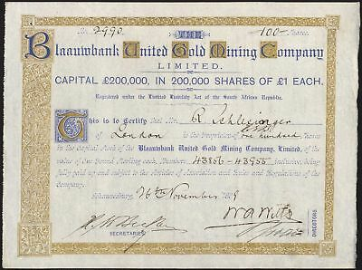 South Africa: Blaauwbank United Gold Mining Co. Ltd., £1 shares, 1889, EF