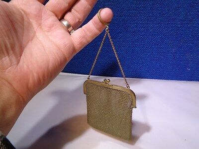 Antique Mesh Coin Purse Victorian Finger Ring Chain Chatelaine