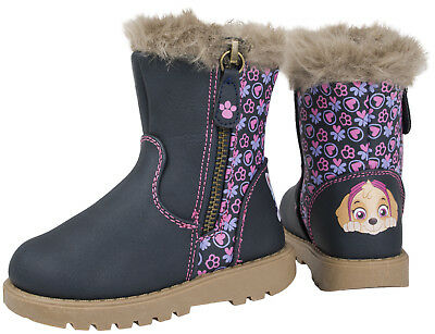 Girls Paw Patrol Boots Mid Calf Warm Winter Fur Cuff Ankle Boots Character Shoes
