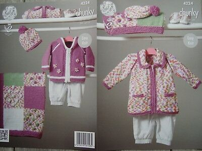 King Cole 4889 Baby's Jacket Hat & Blanket DK Knitting Pattern Sizes 14-22""