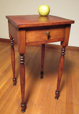 c1920 Sheraton Cherry Wood 1 Drawer Stand Table Conant Ball Famous Reproductions