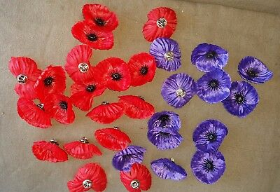 POPPY LAPEL PIN PURPLE OR RED - REMEMBERANCE DAY NOV 11th