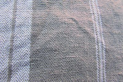 Antique French length herringbone caramel cream striped ticking fabric c1910