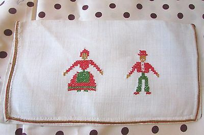Sweetest Vintage French Child's School Linen Cross Stitch Sewing Pouch Exc Cond