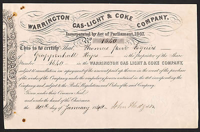 Warrington Gas-Light & Coke Company, one share, 1848, no.1539