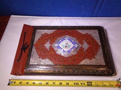 *STUNNING* Antique Islamic Photo Album with 800 Silver & Enameled Center Panel