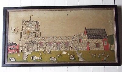 Antique Rare Folk Art Church Graveyard Mourning 18th 19thc Embroidery Needlework