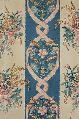 Antique French 19th  warp print cotton linen fabric c1890 blue block printed old