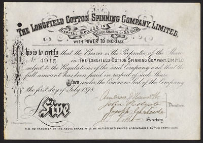 Longfield Cotton Spinning Co. Ltd., Oldham, £5 share, 1878