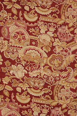 Antique French printed cotton Arts & Crafts fabric LOVELY red ground material