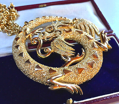Vintage Jewellery Signed Crown TRIFARI Large Chinese Dragon Pendant